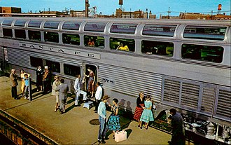 Atchison, Topeka and Santa Fe Railway - The exterior of a Hi-Level lounge on the El Capitan soon after completion in 1956