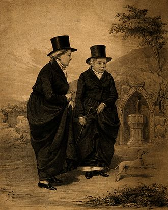Boston marriage - Sarah Ponsoby and Lady Eleanor Butler, also known as the Ladies of Llangollen, lived together in a Boston marriage.