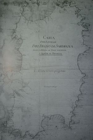 Kingdom of Sardinia (1700–1720) - Map of the coast of Sardinia showing then-extant towers and those under construction or in planning in 1720, from the library of the University of Cagliari