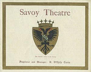 Savoy Theatre - 1896 programme with Savoy coat of arms