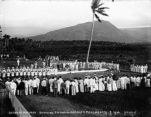 Mulinu'u - Unveiling of the Anglo-American Monument at Mulinu'u (1900), with Mount Vaea, the burial place of Robert Louis Stevenson, in the background