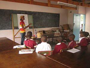 Education in Zimbabwe - Primary school classroom and lecture in Zimbabwe.