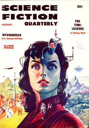 "Wallace West - West's novelette ""The Time-Lockers"" was the cover story for the August 1956 issue of Science Fiction Quarterly"
