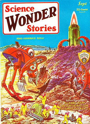 History of US science fiction and fantasy magazines to 1950 - The September 1929 issue of Science Wonder Stories; cover by Frank R. Paul.