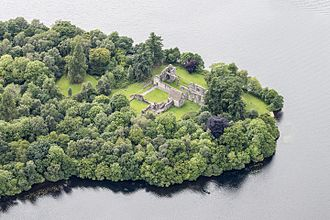 Inchmahome Priory - Image: Scotland 2016 Aerial Inchmahome Priory 03
