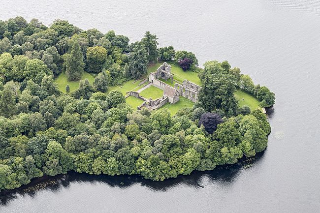Aerial view of Inchmahome Priory