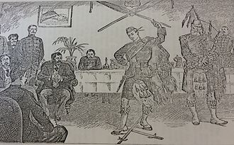Scottish sword dances - The Malagasy Envoys at Cape Town—Entertainment at the Officers' Mess of the 1st Argyll and Sutherland Highlanders