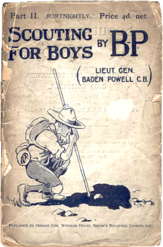 Scouting memorabilia collecting - Second edition of Scouting for Boys by Lord Baden-Powell, published in January 1908, illustrated by Baden-Powell