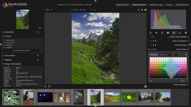 Darktable 1.6 photo editor and manager