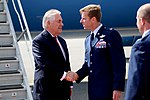 Secretary Tillerson Shakes Hands With U.S. Air Force Col. Mineau Upon Arrival in Alaska (33744280664).jpg