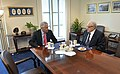 Secretary of Defense Chuck Hagel meets with Ambassador Lakhdar Brahimi, Joint Arab League-UN Special Representative for Syria, April 29, 2013.jpg