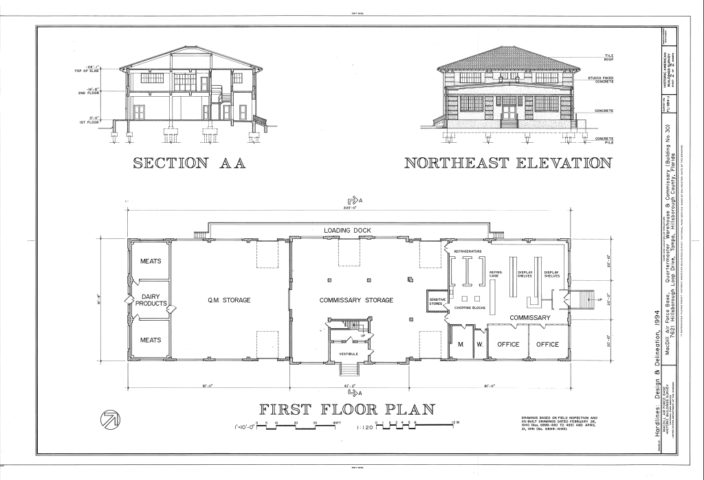 File Section Northeast Elevation And First Floor Plan
