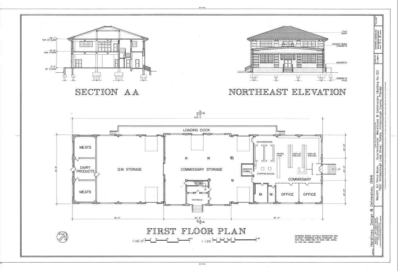 Filesection northeast elevation and first floor plan macdill air force base quartermaster warehouse and commissary 7621 hillsborough loop drive