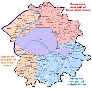 Seine (department) - Seine department and its 81 communes as it existed between 1929 and 1968 (the city of Paris, enlarged several times between 1860 and 1929, is now considerably larger in area). Colors show how the department was split in 1968