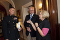 Sen. Claire McCaskill of Missouri and her husband, Joseph Shepard, speak with U.S. Marine Corps Brig. Gen. Steven R. Rudder, the legislative assistant to the Commandant of the Marine Corps 130517-M-MI461-070.jpg