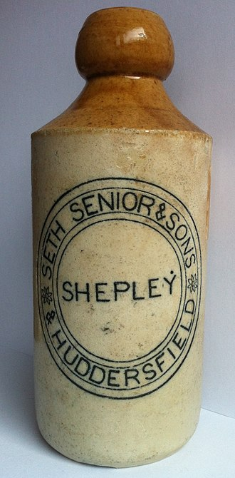 Shepley - Stoneware beer bottle from the Seth Senior brewery