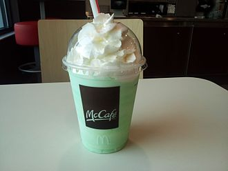 Shamrock Shake - A customer's Shamrock Shake sitting on a table at McDonald's