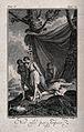 Shem and Japheth cover their father's nakedness; Ham has alr Wellcome V0034222.jpg