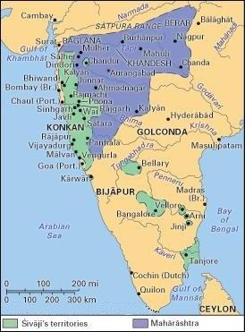 Shivaji's kingdom 1680