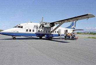 Pacific Coastal Airlines - A Pacific Coastal Airlines Shorts 360 on the ground at Bella Bella, British Columbia