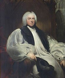 A portrait of a middle-aged white man, enrobed as a bishop and as the chancellor of the Order of the Garter.