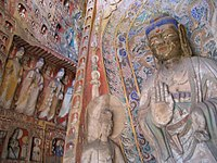 Northern Wei Chinese wall murals and painted figurines, Yungang Grottoes, 5th to 6th centuries.