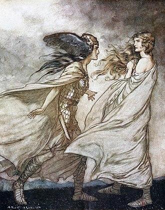 Götterdämmerung - Brünnhilde is visited by her Valkyrie sister Waltraute (Arthur Rackham, 1912)
