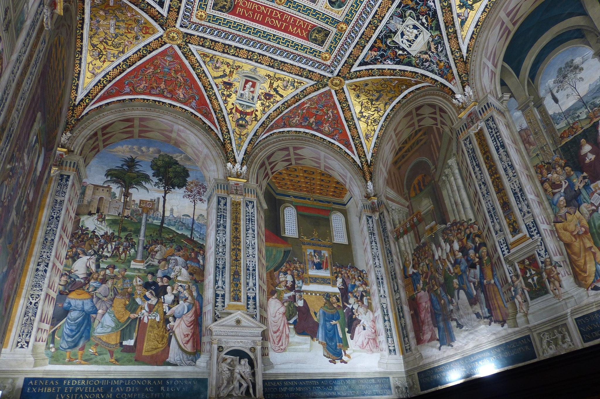 Libreria Piccolomini, affrescatadaPinturicchio, Siena, Duomo. Nel centro La Cacciata dal Paradiso Terrestre