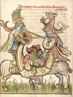 Jousting - Depiction of a standing joust in an Alsatian manuscript of ca. 1420 (CPG 359); protection for the legs of the riders is integrated into the horse armour.