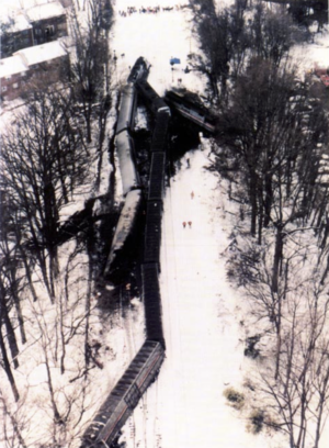 Aerial photograph of the collision. The MARC commuter train is on the left, the Capitol Limited on the right.