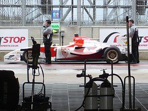 Sevilla FC (Superleague Formula team) - Sevilla's car in the pitlane at the 2010 Silverstone Superleague Formula round