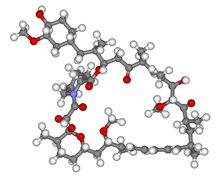 A 3D skelton of the mollecular structure consisting of over around fifty small grey spheres representing carbon, linked by grey tubes. Attached to these are white spheres representing hydrogen. There are a handful of red spheres representing oxygen, and one blue sphere, which is nitrogen.