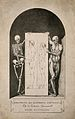 Skeleton and écorché figure holding placard featuring male a Wellcome V0008166.jpg