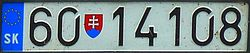 Slovakian military license plate.JPG