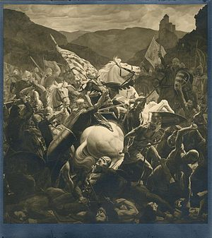 Battle of Gvozd Mountain - Death of Petar Svačić in the Battle of Gvozd Mountain, by Josip Horvat Međimurec