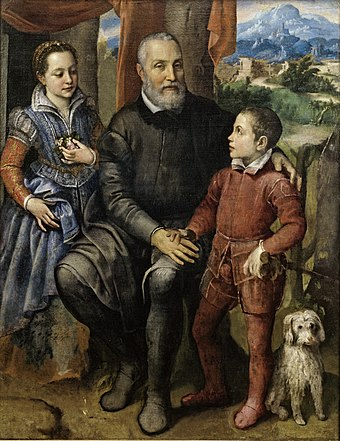 Sofonisba Anguissola, Portrætgruppe med kunstnerens fader Amilcare Anguissola og hendes søskende Minerva og Astrubale, ca. 1559, 0001NMK, Nivaagaards Malerisamling.jpg