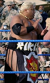 Rikishi, performing for the Coalition troops at Camp Victory in Baghdad, Iraq.