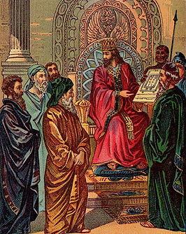Salomo met het ontwerp van de tempel, 2 Kronieken 2-5