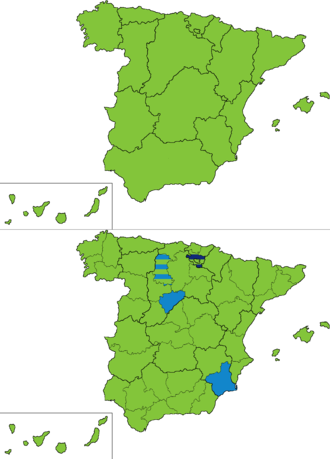 Spanish general election, 1881 - Most voted party by regions and provinces.