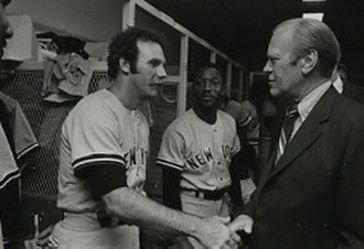 Sparky Lyle - Lyle (left) shaking hands with Gerald Ford in 1976