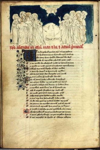 Speculum Humanae Salvationis - The Ascension from the same manuscript, see left. Danish Royal Library