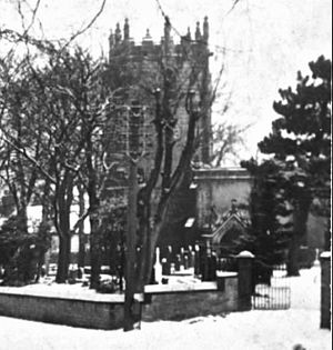 Castleton, Derbyshire - St Edmund's Church in a 1955 snowfall