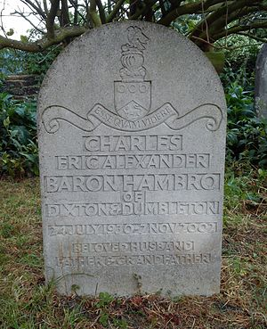 Charles Hambro, Baron Hambro - Lord Hambro's grave at St Peter's churchyard, Dumbleton