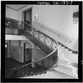 Stairway,from landing looking up - Gary Municipal Building, 401 Broadway, Gary, Lake County, IN HABS IND,45-GRAY,1-7.tif