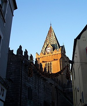 The spire of St. Nicholas' church, in late Dec...