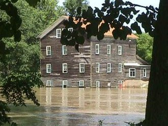 Eel River (Wabash River tributary) - Stockdale Mill on the Northern Eel River at Roann, Indiana, in June 1998.