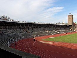 Description de l'image  Stockholms Stadion Supporterstand.JPG.