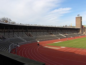 Stockholm Olympic Stadium - Image: Stockholms Stadion Supporterstand