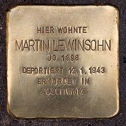 Photo of Martin Lewinsohn brass plaque