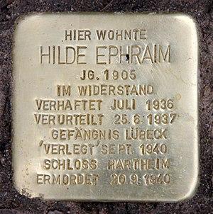 "Hilde Ephraim - A ""Stolperstein"" (memorial tablet) has been set in the ground outside the address at Bayerische Straße 20 in Berlin-Wilmersdorf where Hilde Ephraim lived."
